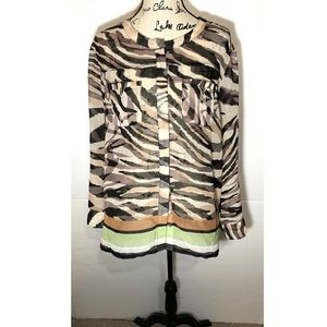 Democracy Button Down Sheer Blouse Tiger Stripes